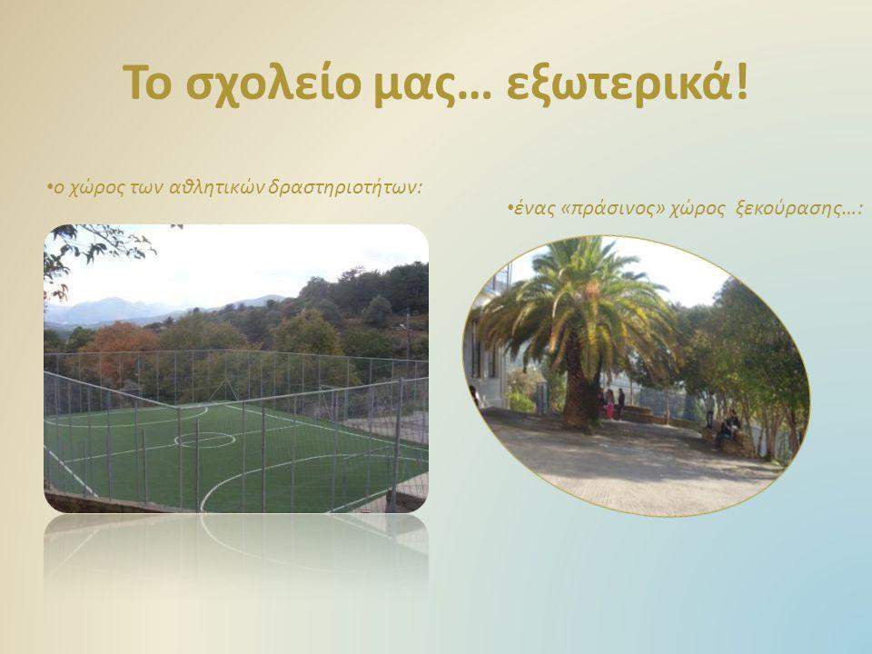 Το σχολείο μας… εξωτερικά! ο χώρος των αθλητικών δραστηριοτήτων: ένας «πράσινος» χώρος ξεκούρασης…: