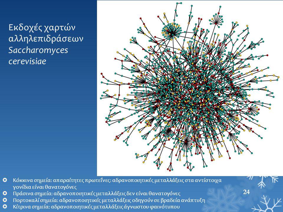 Εκδοχές χαρτών αλληλεπιδράσεων Saccharomyces cerevisiae  Κόκκινα σημεία: απαραίτητες πρωτεΐνες: αδρανοποιητικές μεταλλάξεις στα αντίστοιχα γονίδια εί