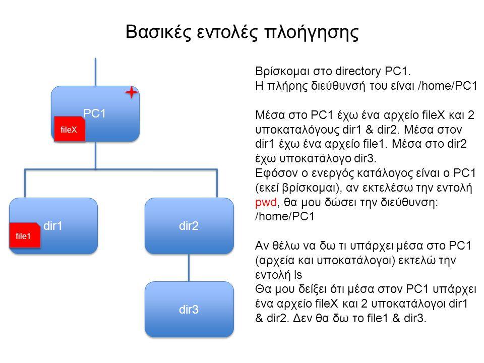 Βασικές εντολές πλοήγησης PC1 Βρίσκομαι στο directory PC1.