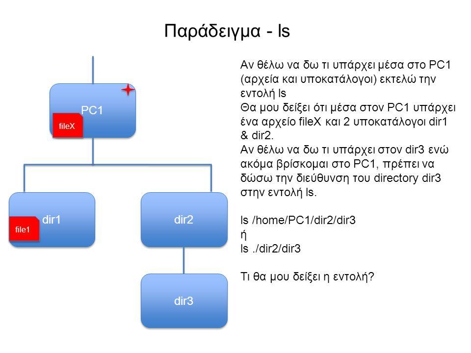 Παράδειγμα - ls PC1 Αν θέλω να δω τι υπάρχει μέσα στο PC1 (αρχεία και υποκατάλογοι) εκτελώ την εντολή ls Θα μου δείξει ότι μέσα στον PC1 υπάρχει ένα αρχείο fileX και 2 υποκατάλογοι dir1 & dir2.