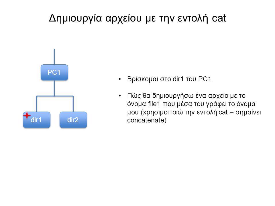Δημιουργία αρχείου με την εντολή cat PC1 dir1 dir2 Βρίσκομαι στο dir1 του PC1.