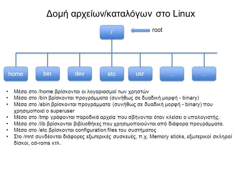 Βασικές εντολές πλοήγησης - ls PC1 Αν θέλω να δω τι υπάρχει μέσα στο PC1 (αρχεία και υποκατάλογοι) εκτελώ την εντολή ls Θα μου δείξει ότι μέσα στον PC1 υπάρχει ένα αρχείο fileX και 2 υποκατάλογοι dir1 & dir2.