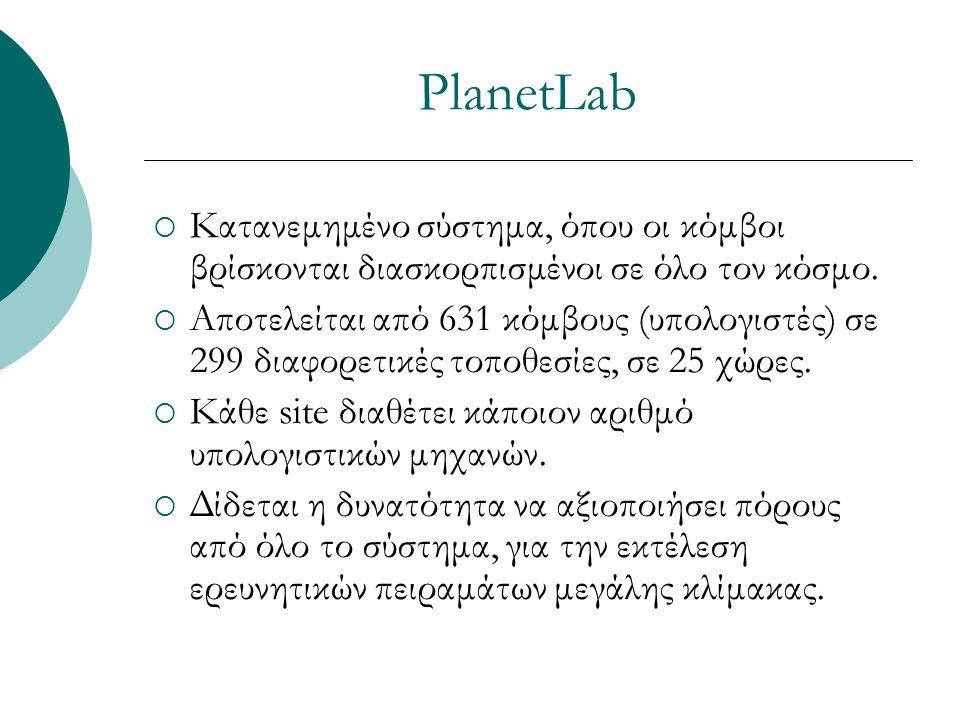 PlanetLab  Κατανεμημένο σύστημα, όπου οι κόμβοι βρίσκονται διασκορπισμένοι σε όλο τον κόσμο.