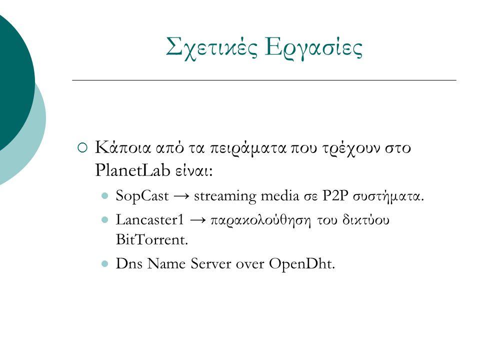 Σχετικές Εργασίες  Κάποια από τα πειράματα που τρέχουν στο PlanetLab είναι: SopCast → streaming media σε P2P συστήματα.
