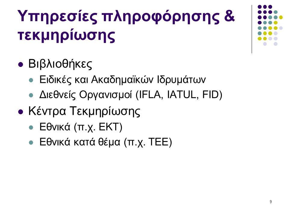 9 Υπηρεσίες πληροφόρησης & τεκμηρίωσης Βιβλιοθήκες Ειδικές και Ακαδημαϊκών Ιδρυμάτων Διεθνείς Οργανισμοί (IFLA, IATUL, FID) Κέντρα Τεκμηρίωσης Εθνικά (π.χ.