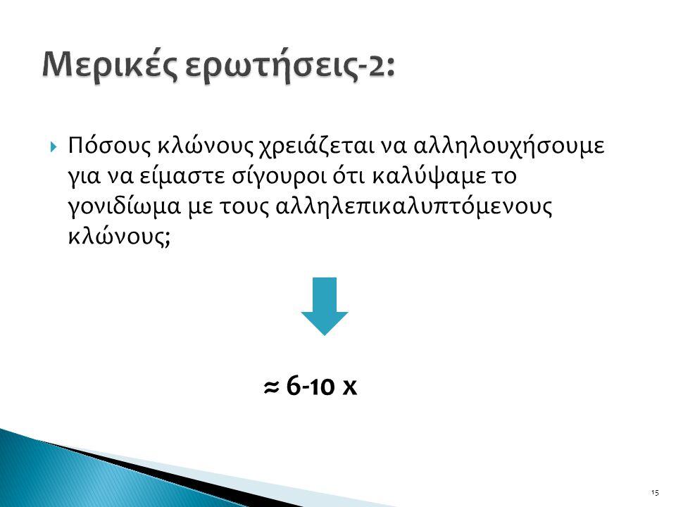  Πόσους κλώνους χρειάζεται να αλληλουχήσουμε για να είμαστε σίγουροι ότι καλύψαμε το γονιδίωμα με τους αλληλεπικαλυπτόμενους κλώνους; 15 ≈ 6-10 x