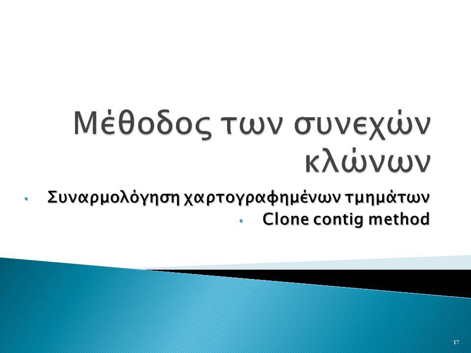 Συναρμολόγηση χαρτογραφημένων τμημάτων Συναρμολόγηση χαρτογραφημένων τμημάτων Clone contig method Clone contig method 17