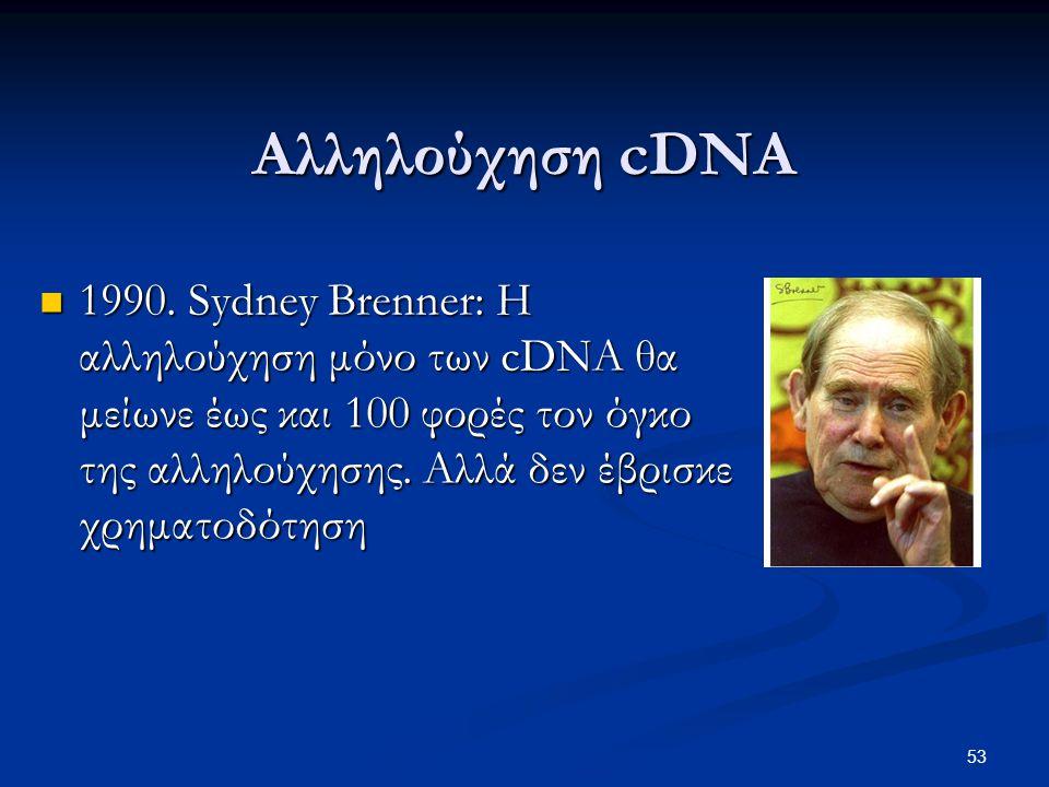 Αλληλούχηση cDNA 1990. Sydney Brenner: Η αλληλούχηση μόνο των cDNA θα μείωνε έως και 100 φορές τον όγκο της αλληλούχησης. Αλλά δεν έβρισκε χρηματοδότη