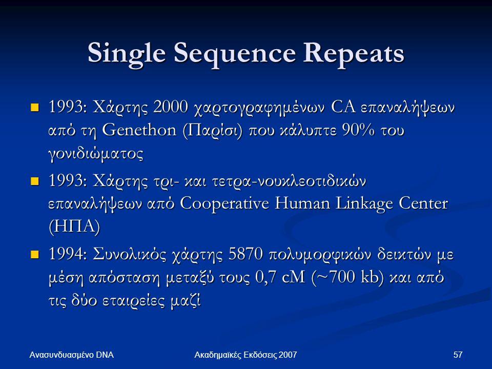 Single Sequence Repeats 1993: Χάρτης 2000 χαρτογραφημένων CA επαναλήψεων από τη Genethon (Παρίσι) που κάλυπτε 90% του γονιδιώματος 1993: Χάρτης 2000 χ
