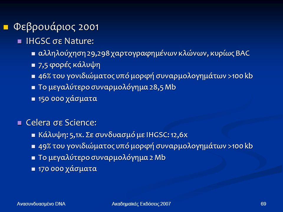 Φεβρουάριος 2001 Φεβρουάριος 2001 IHGSC σε Nature: IHGSC σε Nature: αλληλούχηση 29,298 χαρτογραφημένων κλώνων, κυρίως BAC αλληλούχηση 29,298 χαρτογραφ