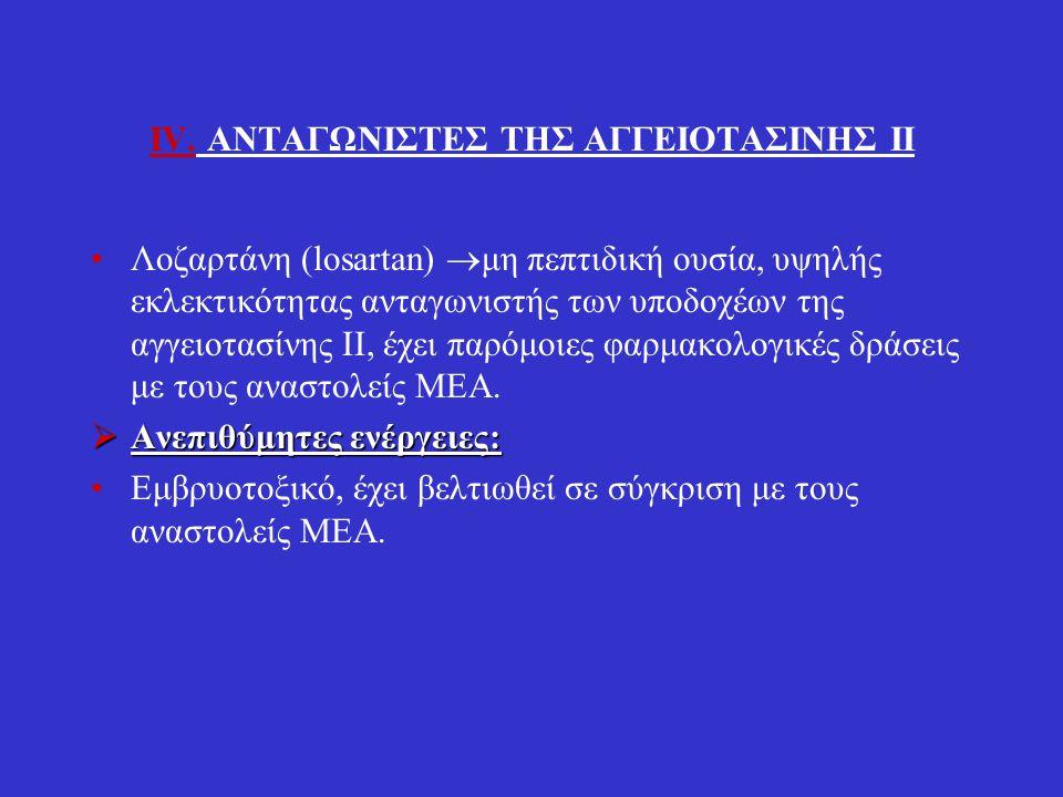 IV. ΑΝΤΑΓΩΝΙΣΤΕΣ ΤΗΣ ΑΓΓΕΙOΤΑΣΙΝΗΣ ΙΙ Λοζαρτάνη (losartan)  μη πεπτιδική ουσία, υψηλής εκλεκτικότητας ανταγωνιστής των υποδοχέων της αγγειοτασίνης ΙΙ