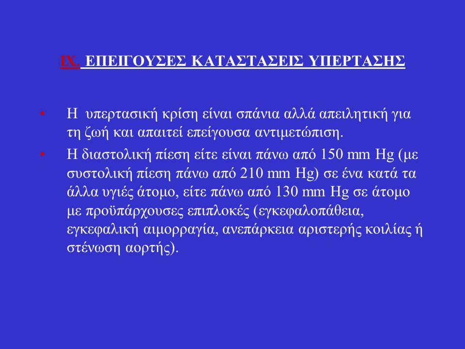 A.Νιτροπρωσσικό νάτριο (Sodium nitroprusside) Χορηγείται ενδοφλεβίως και προκαλεί ταχεία αγγειοδιαστολή με αντανακλαστική ταχυκαρδία.