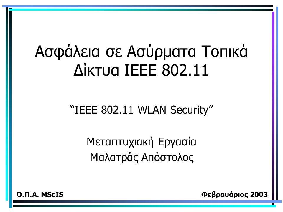 """Ασφάλεια σε Ασύρματα Τοπικά Δίκτυα ΙΕΕΕ 802.11 """"IEEE 802.11 WLAN Security"""" Μεταπτυχιακή Εργασία Μαλατράς Απόστολος Ο.Π.Α. MScIS Φεβρουάριος 2003"""