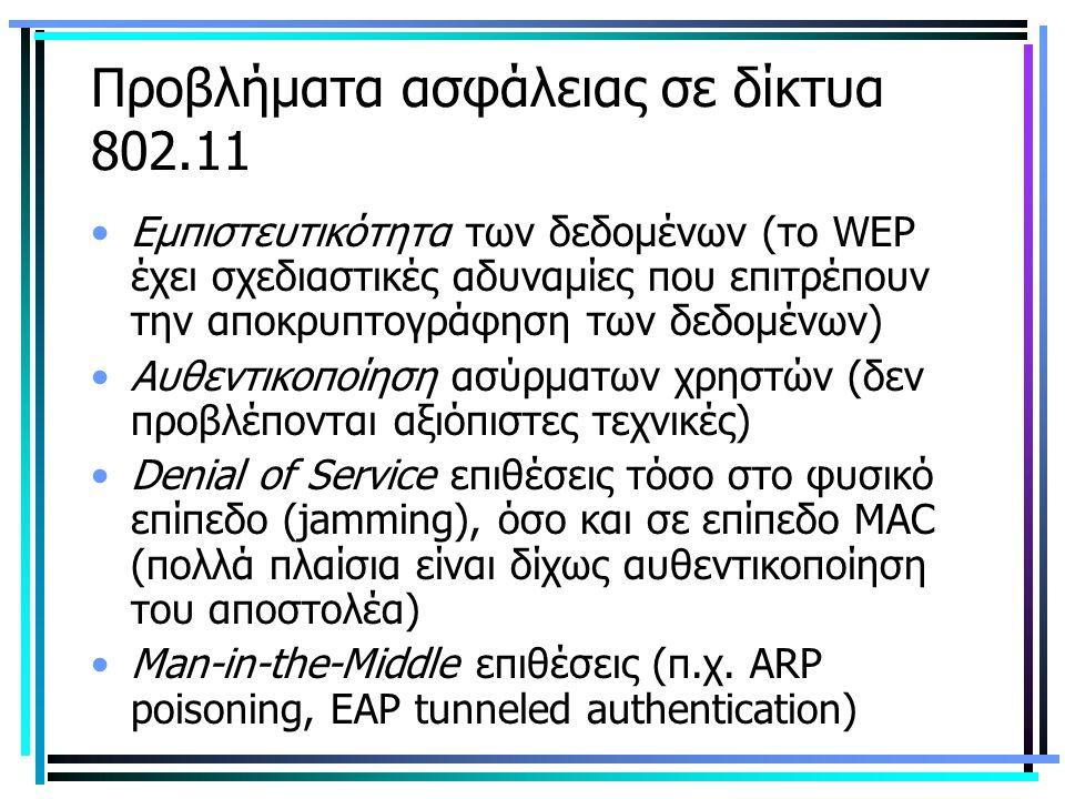 Προβλήματα ασφάλειας σε δίκτυα 802.11 Εμπιστευτικότητα των δεδομένων (το WEP έχει σχεδιαστικές αδυναμίες που επιτρέπουν την αποκρυπτογράφηση των δεδομένων) Αυθεντικοποίηση ασύρματων χρηστών (δεν προβλέπονται αξιόπιστες τεχνικές) Denial of Service επιθέσεις τόσο στο φυσικό επίπεδο (jamming), όσο και σε επίπεδο MAC (πολλά πλαίσια είναι δίχως αυθεντικοποίηση του αποστολέα) Man-in-the-Middle επιθέσεις (π.χ.