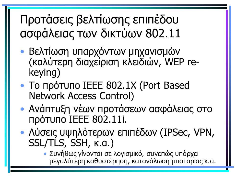Προτάσεις βελτίωσης επιπέδου ασφάλειας των δικτύων 802.11 Βελτίωση υπαρχόντων μηχανισμών (καλύτερη διαχείριση κλειδιών, WEP re- keying) Το πρότυπο ΙΕΕ