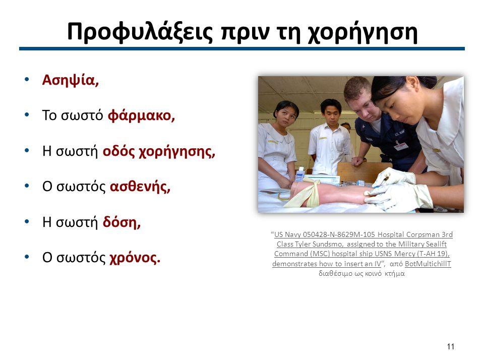 """Προφυλάξεις πριν τη χορήγηση Ασηψία, Το σωστό φάρμακο, Η σωστή οδός χορήγησης, Ο σωστός ασθενής, Η σωστή δόση, Ο σωστός χρόνος. """"US Navy 050428-N-8629"""