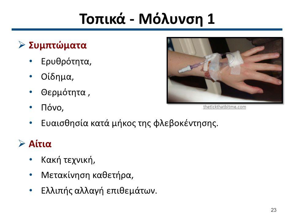 Τοπικά - Μόλυνση 1  Συμπτώματα Ερυθρότητα, Οίδημα, Θερμότητα, Πόνο, Ευαισθησία κατά μήκος της φλεβοκέντησης.  Αίτια Κακή τεχνική, Μετακίνηση καθετήρ