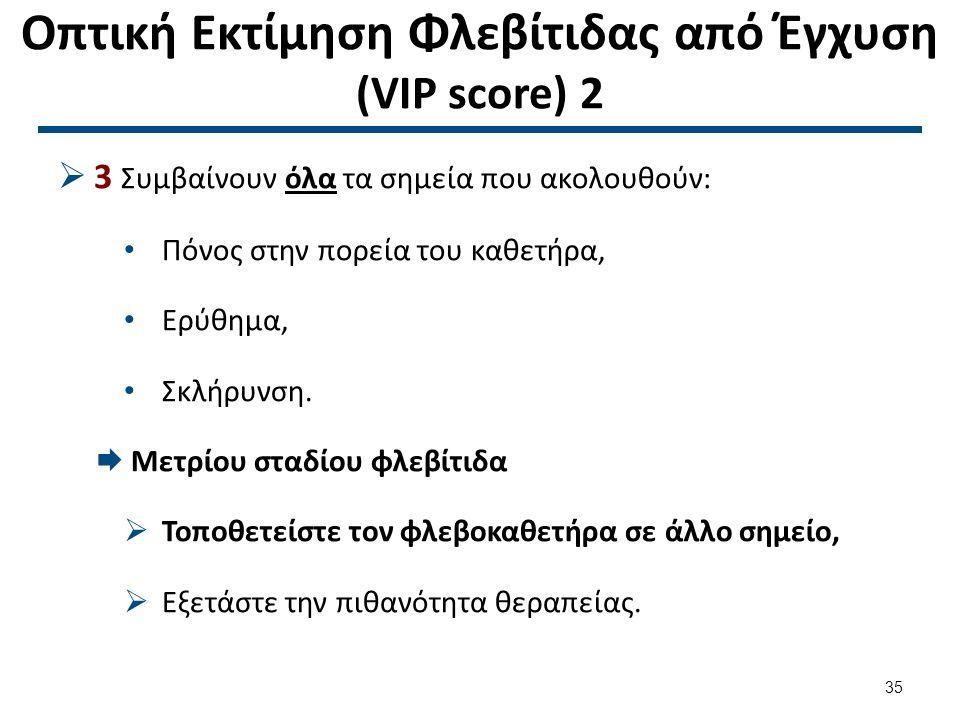 Οπτική Εκτίμηση Φλεβίτιδας από Έγχυση (VIP score) 2  3 Συμβαίνουν όλα τα σημεία που ακολουθούν: Πόνος στην πορεία του καθετήρα, Ερύθημα, Σκλήρυνση.