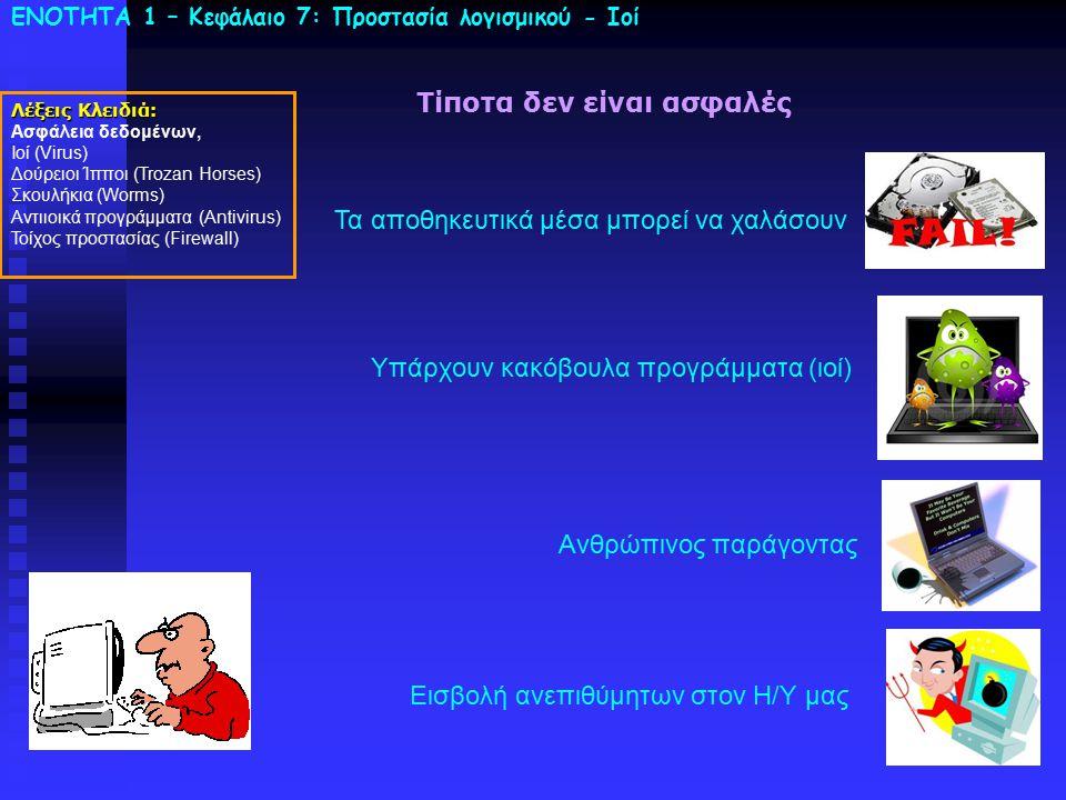 ΕΝΟΤΗΤΑ 1 – Κεφάλαιο 7: Προστασία λογισμικού - Ιοί Λέξεις Κλειδιά: Ασφάλεια δεδομένων, Ιοί (Virus) Δούρειοι Ίπποι (Trozan Horses) Σκουλήκια (Worms) Αν