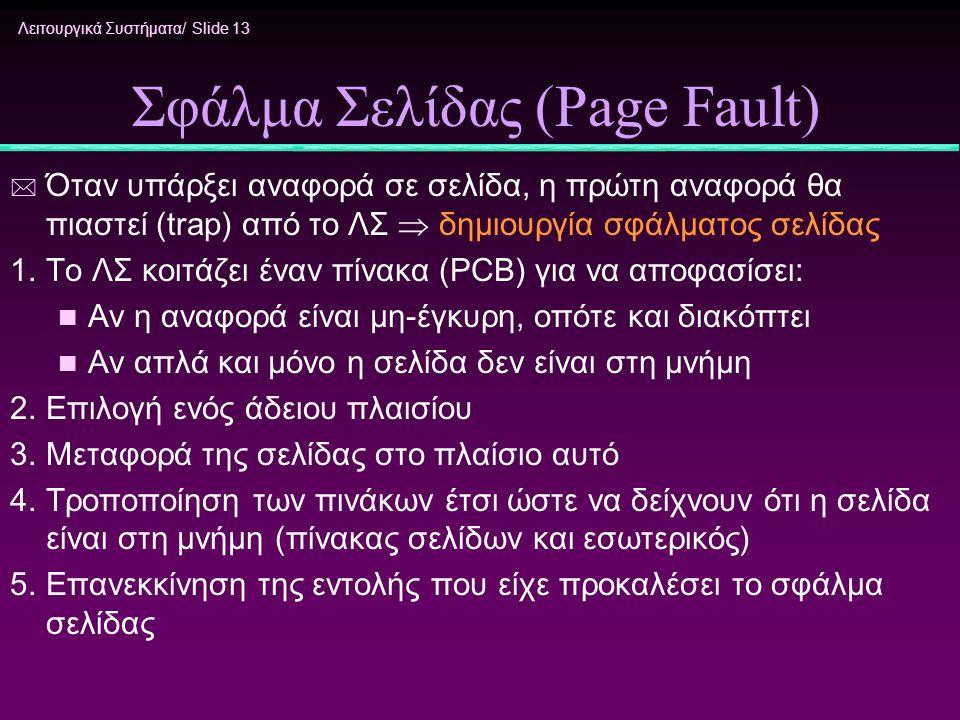 Λειτουργικά Συστήματα/ Slide 13 Σφάλμα Σελίδας (Page Fault) * Όταν υπάρξει αναφορά σε σελίδα, η πρώτη αναφορά θα πιαστεί (trap) από το ΛΣ  δημιουργία