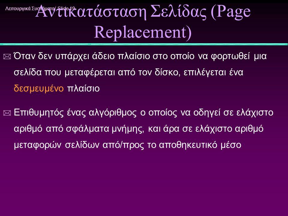 Λειτουργικά Συστήματα/ Slide 19 Αντικατάσταση Σελίδας (Page Replacement) * Όταν δεν υπάρχει άδειο πλαίσιο στο οποίο να φορτωθεί μια σελίδα που μεταφέρ