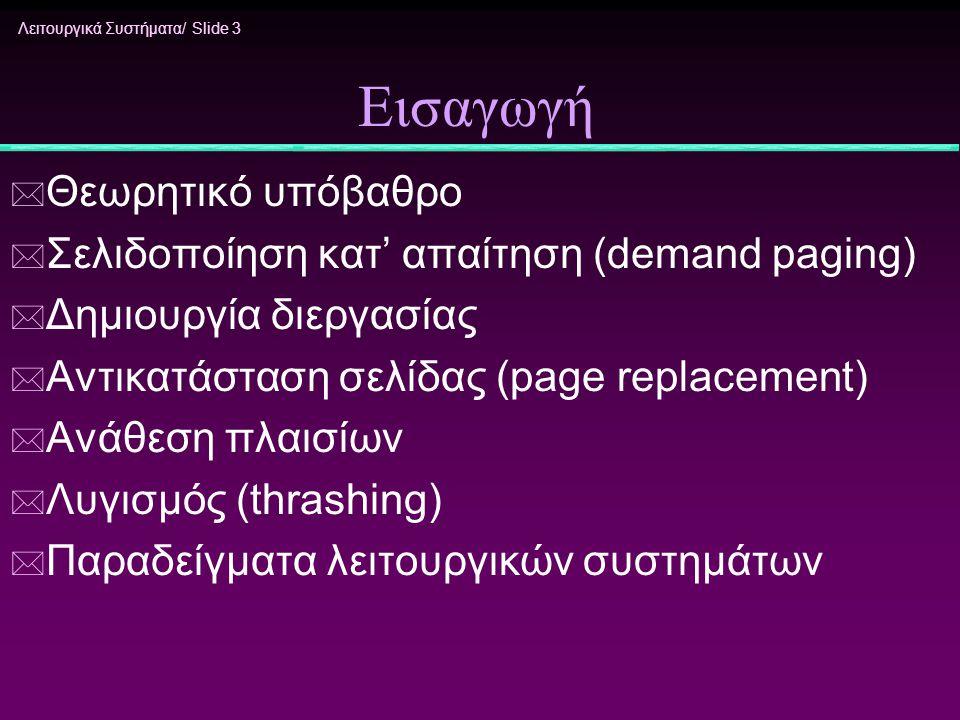 Λειτουργικά Συστήματα/ Slide 3 Εισαγωγή * Θεωρητικό υπόβαθρο * Σελιδοποίηση κατ' απαίτηση (demand paging) * Δημιουργία διεργασίας * Αντικατάσταση σελί