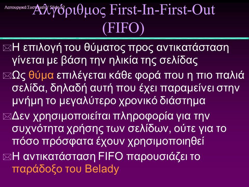 Λειτουργικά Συστήματα/ Slide 32 Αλγόριθμος First-In-First-Out (FIFO) * Η επιλογή του θύματος προς αντικατάσταση γίνεται με βάση την ηλικία της σελίδας