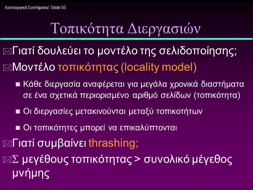 Λειτουργικά Συστήματα/ Slide 55 Τοπικότητα Διεργασιών * Γιατί δουλεύει το μοντέλο της σελιδοποίησης; * Μοντέλο τοπικότητας (locality model) n Κάθε διε