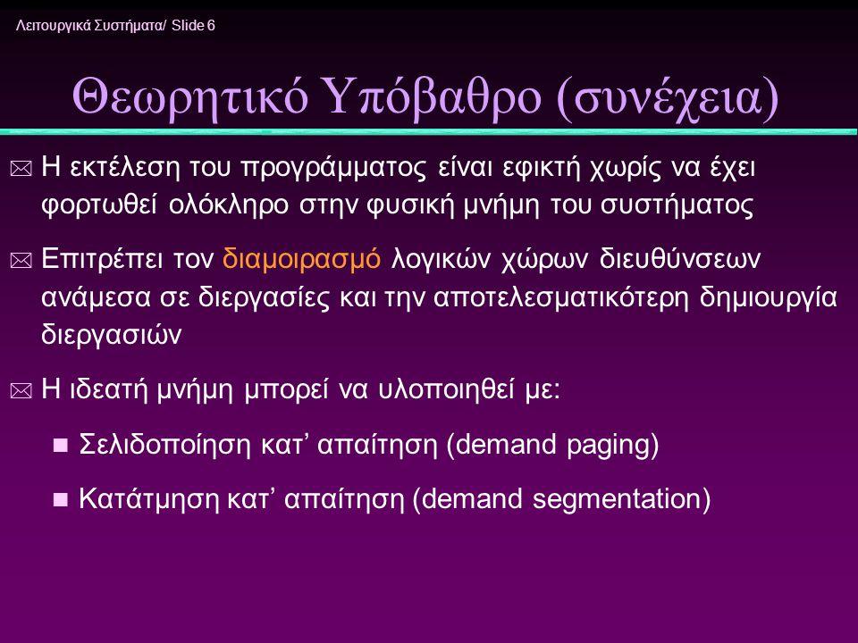 Λειτουργικά Συστήματα/ Slide 6 Θεωρητικό Υπόβαθρο (συνέχεια) * Η εκτέλεση του προγράμματος είναι εφικτή χωρίς να έχει φορτωθεί ολόκληρο στην φυσική μν