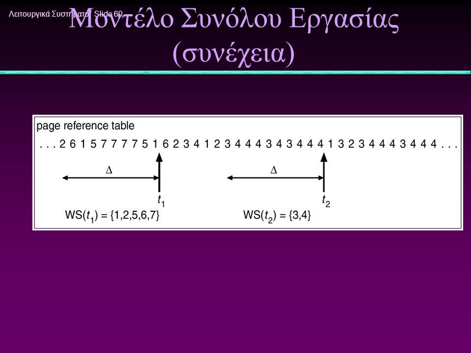 Λειτουργικά Συστήματα/ Slide 60 Μοντέλο Συνόλου Εργασίας (συνέχεια)