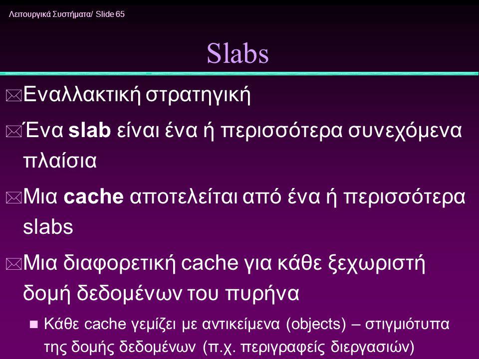Λειτουργικά Συστήματα/ Slide 65 Slabs * Εναλλακτική στρατηγική * Ένα slab είναι ένα ή περισσότερα συνεχόμενα πλαίσια * Μια cache αποτελείται από ένα ή