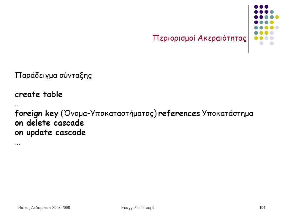 Βάσεις Δεδομένων 2007-2008Ευαγγελία Πιτουρά104 Περιορισμοί Ακεραιότητας Παράδειγμα σύνταξης create table..
