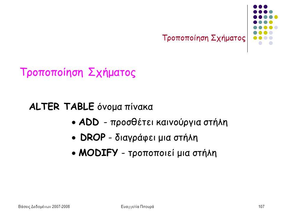 Βάσεις Δεδομένων 2007-2008Ευαγγελία Πιτουρά107 Τροποποίηση Σχήματος ALTER TABLE όνομα πίνακα  ADD - προσθέτει καινούργια στήλη  DROP - διαγράφει μια στήλη  MODIFY - τροποποιεί μια στήλη