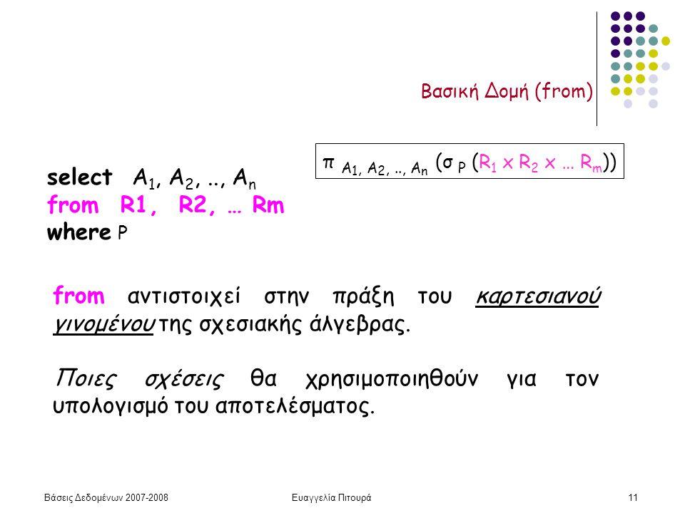 Βάσεις Δεδομένων 2007-2008Ευαγγελία Πιτουρά11 Βασική Δομή (from) select Α 1, Α 2,.., Α n from R1, R2, … Rm where P π A 1, A 2,.., A n (σ P (R 1 x R 2 x … R m )) from αντιστοιχεί στην πράξη του καρτεσιανού γινομένου της σχεσιακής άλγεβρας.