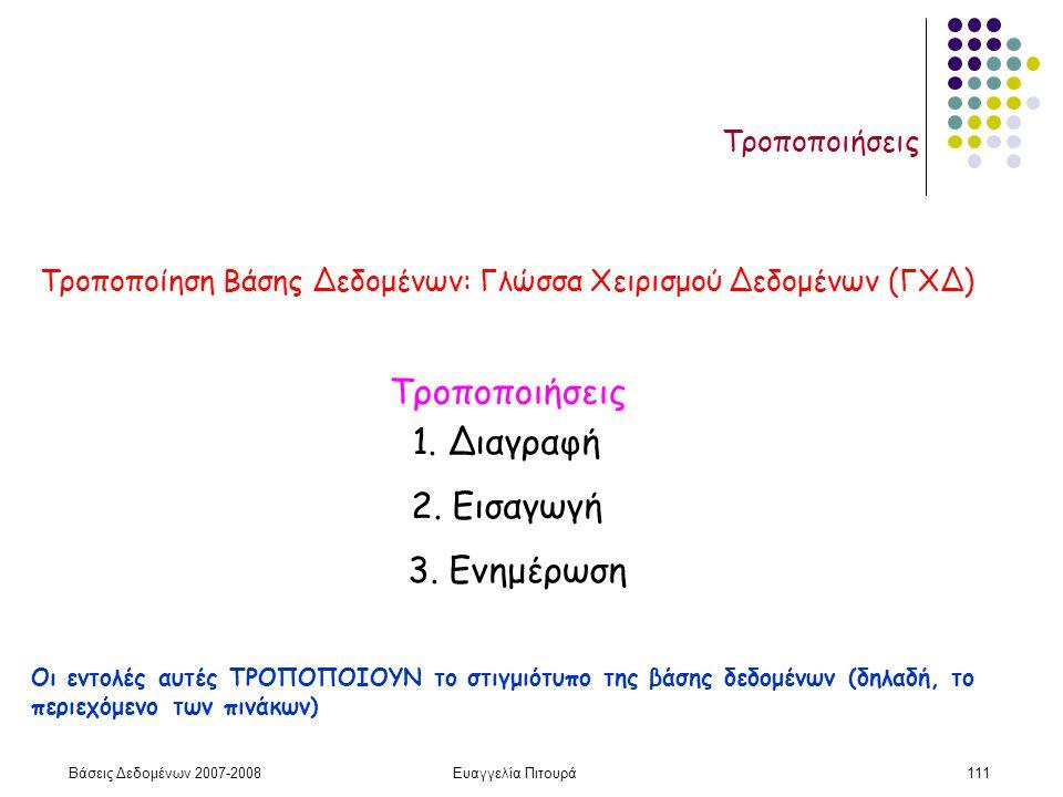 Βάσεις Δεδομένων 2007-2008Ευαγγελία Πιτουρά111 Τροποποιήσεις 1.
