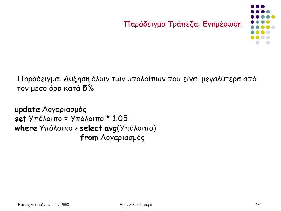Βάσεις Δεδομένων 2007-2008Ευαγγελία Πιτουρά132 Παράδειγμα: Αύξηση όλων των υπολοίπων που είναι μεγαλύτερα από τον μέσο όρο κατά 5% update Λογαριασμός set Υπόλοιπο = Υπόλοιπο * 1.05 where Υπόλοιπο > select avg(Υπόλοιπο) from Λογαριασμός Παράδειγμα Τράπεζα: Ενημέρωση