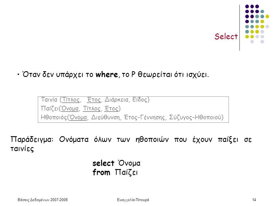 Βάσεις Δεδομένων 2007-2008Ευαγγελία Πιτουρά14 Select Παράδειγμα: Ονόματα όλων των ηθοποιών που έχουν παίξει σε ταινίες select Όνομα from Παίζει Ταινία (Τίτλος, Έτος, Διάρκεια, Είδος) Παίζει(Όνομα, Τίτλος, Έτος) Ηθοποιός(Όνομα, Διεύθυνση, Έτος-Γέννησης, Σύζυγος-Ηθοποιού) Όταν δεν υπάρχει το where, το P θεωρείται ότι ισχύει.