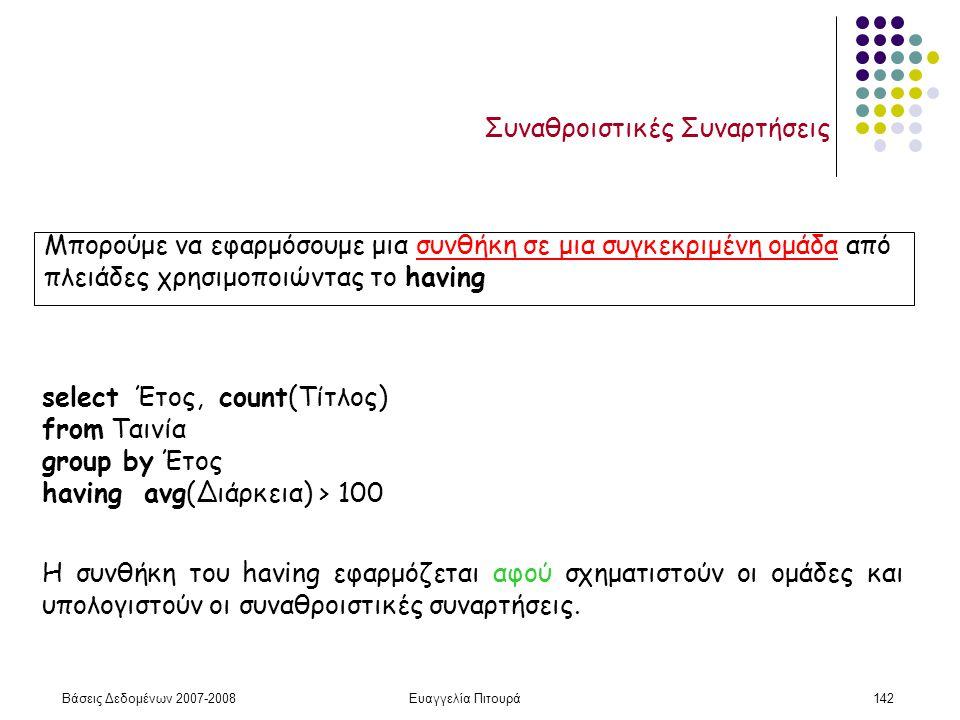 Βάσεις Δεδομένων 2007-2008Ευαγγελία Πιτουρά142 Συναθροιστικές Συναρτήσεις Μπορούμε να εφαρμόσουμε μια συνθήκη σε μια συγκεκριμένη ομάδα από πλειάδες χρησιμοποιώντας το having select Έτος, count(Τίτλος) from Ταινία group by Έτος having avg(Διάρκεια) > 100 Η συνθήκη του having εφαρμόζεται αφού σχηματιστούν οι ομάδες και υπολογιστούν οι συναθροιστικές συναρτήσεις.