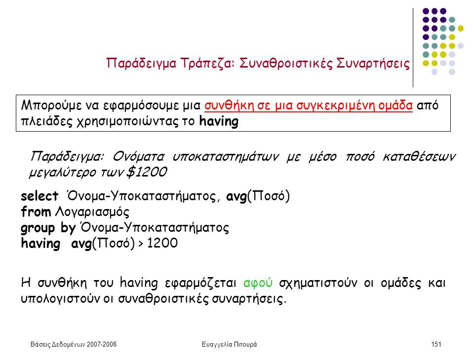 Βάσεις Δεδομένων 2007-2008Ευαγγελία Πιτουρά151 Παράδειγμα Τράπεζα: Συναθροιστικές Συναρτήσεις Μπορούμε να εφαρμόσουμε μια συνθήκη σε μια συγκεκριμένη ομάδα από πλειάδες χρησιμοποιώντας το having Παράδειγμα: Ονόματα υποκαταστημάτων με μέσο ποσό καταθέσεων μεγαλύτερο των $1200 select Όνομα-Υποκαταστήματος, avg(Ποσό) from Λογαριασμός group by Όνομα-Υποκαταστήματος having avg(Ποσό) > 1200 Η συνθήκη του having εφαρμόζεται αφού σχηματιστούν οι ομάδες και υπολογιστούν οι συναθροιστικές συναρτήσεις.