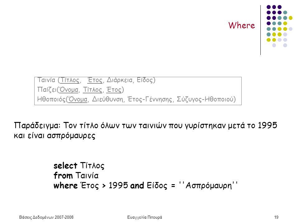 Βάσεις Δεδομένων 2007-2008Ευαγγελία Πιτουρά19 Where Παράδειγμα: Τον τίτλο όλων των ταινιών που γυρίστηκαν μετά το 1995 και είναι ασπρόμαυρες select Τίτλος from Ταινία where Έτος > 1995 and Είδος = Ασπρόμαυρη Ταινία (Τίτλος, Έτος, Διάρκεια, Είδος) Παίζει(Όνομα, Τίτλος, Έτος) Ηθοποιός(Όνομα, Διεύθυνση, Έτος-Γέννησης, Σύζυγος-Ηθοποιού)