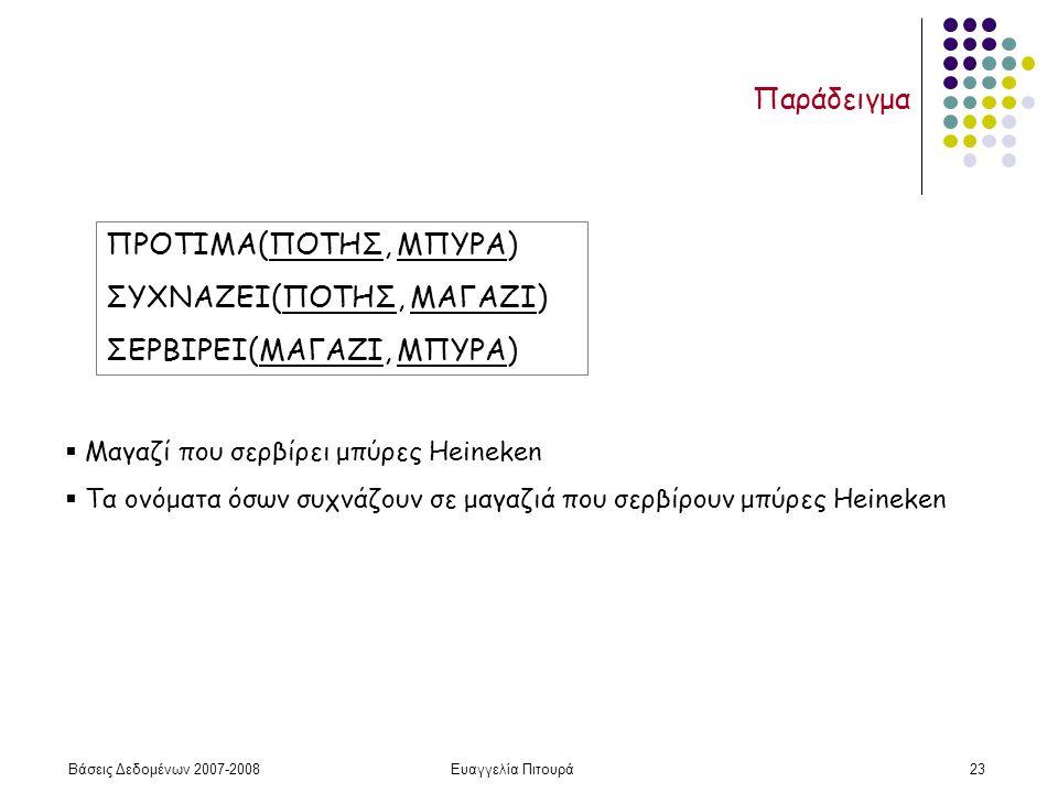 Βάσεις Δεδομένων 2007-2008Ευαγγελία Πιτουρά23 Παράδειγμα ΠΡΟΤΙΜΑ(ΠΟΤΗΣ, ΜΠΥΡΑ) ΣΥΧΝΑΖΕΙ(ΠΟΤΗΣ, ΜΑΓΑΖΙ) ΣΕΡΒΙΡΕΙ(ΜΑΓΑΖΙ, ΜΠΥΡΑ)  Μαγαζί που σερβίρει μπύρες Heineken  Τα ονόματα όσων συχνάζουν σε μαγαζιά που σερβίρουν μπύρες Heineken
