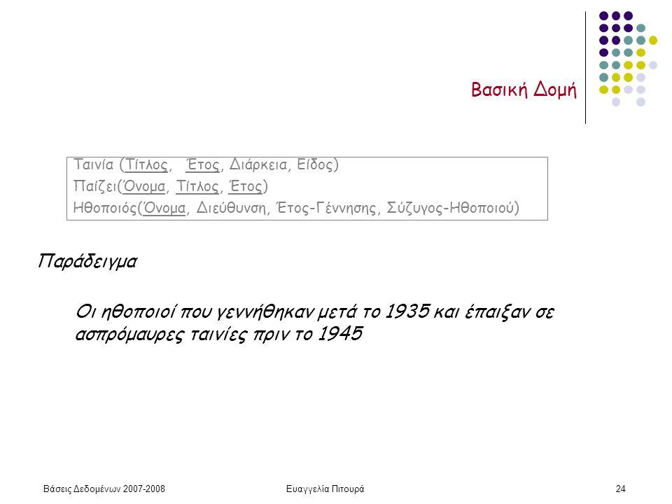 Βάσεις Δεδομένων 2007-2008Ευαγγελία Πιτουρά24 Βασική Δομή Ταινία (Τίτλος, Έτος, Διάρκεια, Είδος) Παίζει(Όνομα, Τίτλος, Έτος) Ηθοποιός(Όνομα, Διεύθυνση, Έτος-Γέννησης, Σύζυγος-Ηθοποιού) Παράδειγμα Οι ηθοποιοί που γεννήθηκαν μετά το 1935 και έπαιξαν σε ασπρόμαυρες ταινίες πριν το 1945
