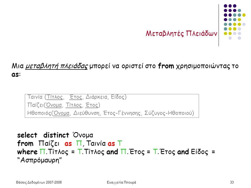 Βάσεις Δεδομένων 2007-2008Ευαγγελία Πιτουρά33 Μεταβλητές Πλειάδων Μια μεταβλητή πλειάδας μπορεί να οριστεί στο from χρησιμοποιώντας το as: select distinct Όνομα from Παίζει as Π, Ταινία as Τ where Π.Τίτλος = Τ.Τίτλος and Π.Έτος = Τ.Έτος and Είδος = Ασπρόμαυρη Ταινία (Τίτλος, Έτος, Διάρκεια, Είδος) Παίζει(Όνομα, Τίτλος, Έτος) Ηθοποιός(Όνομα, Διεύθυνση, Έτος-Γέννησης, Σύζυγος-Ηθοποιού)