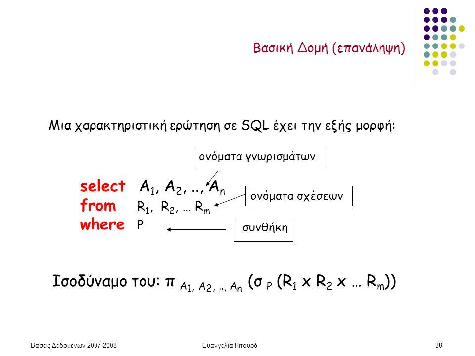 Βάσεις Δεδομένων 2007-2008Ευαγγελία Πιτουρά38 Βασική Δομή (επανάληψη) select Α 1, Α 2,.., Α n from R 1, R 2, … R m where P Μια χαρακτηριστική ερώτηση σε SQL έχει την εξής μορφή: Ισοδύναμο του: π A 1, A 2,.., A n (σ P (R 1 x R 2 x … R m )) ονόματα σχέσεων ονόματα γνωρισμάτων συνθήκη