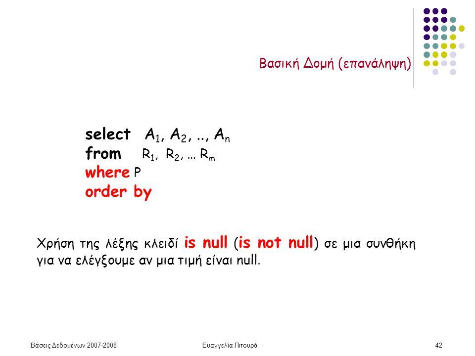 Βάσεις Δεδομένων 2007-2008Ευαγγελία Πιτουρά42 Βασική Δομή (επανάληψη) select Α 1, Α 2,.., Α n from R 1, R 2, … R m where P order by Χρήση της λέξης κλειδί is null ( is not null ) σε μια συνθήκη για να ελέγξουμε αν μια τιμή είναι null.