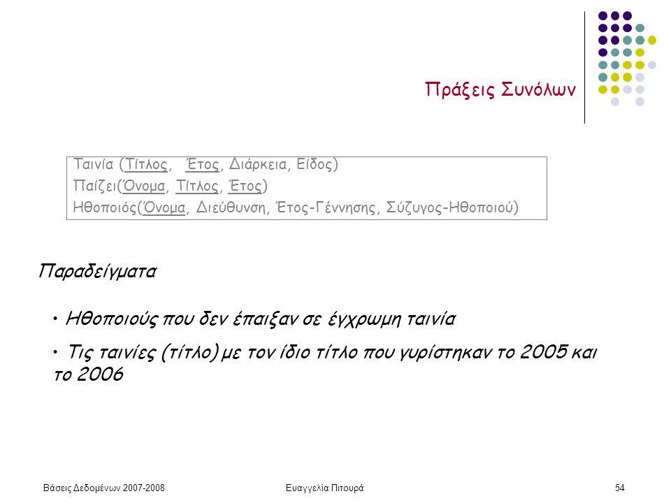 Βάσεις Δεδομένων 2007-2008Ευαγγελία Πιτουρά54 Πράξεις Συνόλων Ταινία (Τίτλος, Έτος, Διάρκεια, Είδος) Παίζει(Όνομα, Τίτλος, Έτος) Ηθοποιός(Όνομα, Διεύθυνση, Έτος-Γέννησης, Σύζυγος-Ηθοποιού) Παραδείγματα Ηθοποιούς που δεν έπαιξαν σε έγχρωμη ταινία Τις ταινίες (τίτλο) με τον ίδιο τίτλο που γυρίστηκαν το 2005 και το 2006