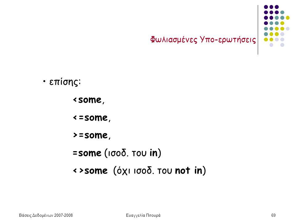 Βάσεις Δεδομένων 2007-2008Ευαγγελία Πιτουρά69 Φωλιασμένες Υπο-ερωτήσεις επίσης: <some, <=some, >=some, =some (ισοδ.