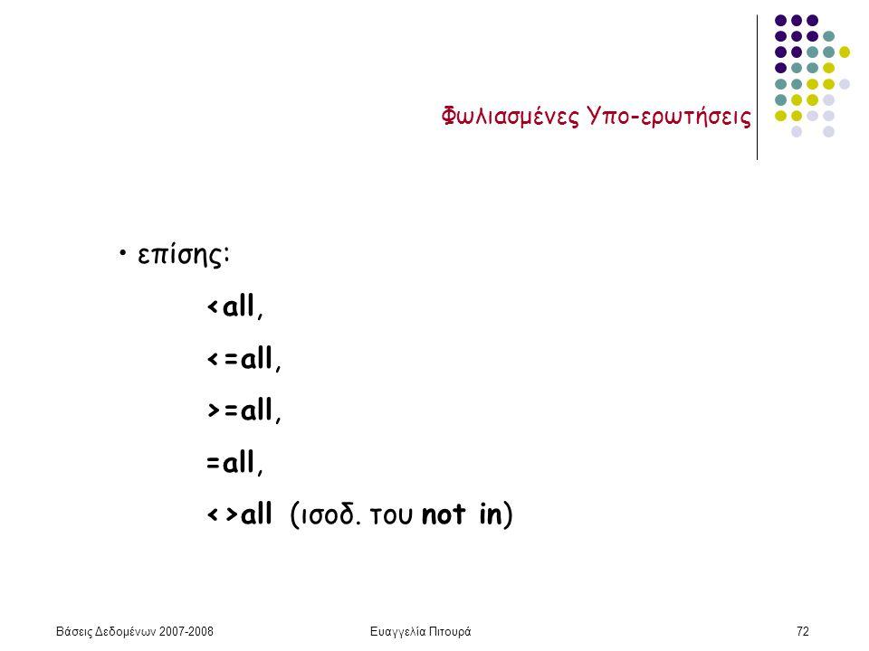Βάσεις Δεδομένων 2007-2008Ευαγγελία Πιτουρά72 Φωλιασμένες Υπο-ερωτήσεις επίσης: <all, <=all, >=all, =all, <>all (ισοδ.