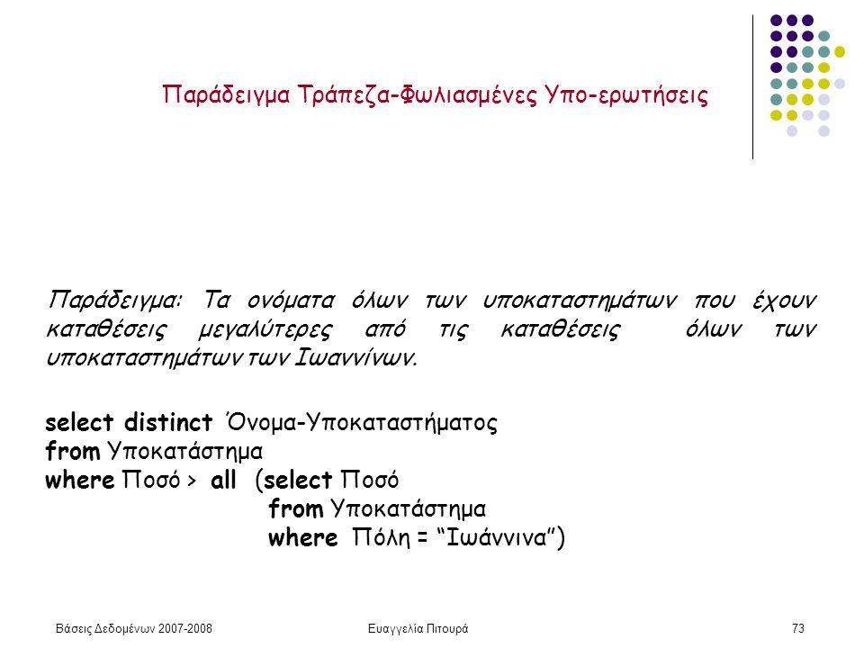 Βάσεις Δεδομένων 2007-2008Ευαγγελία Πιτουρά73 Παράδειγμα: Τα ονόματα όλων των υποκαταστημάτων που έχουν καταθέσεις μεγαλύτερες από τις καταθέσεις όλων των υποκαταστημάτων των Ιωαννίνων.