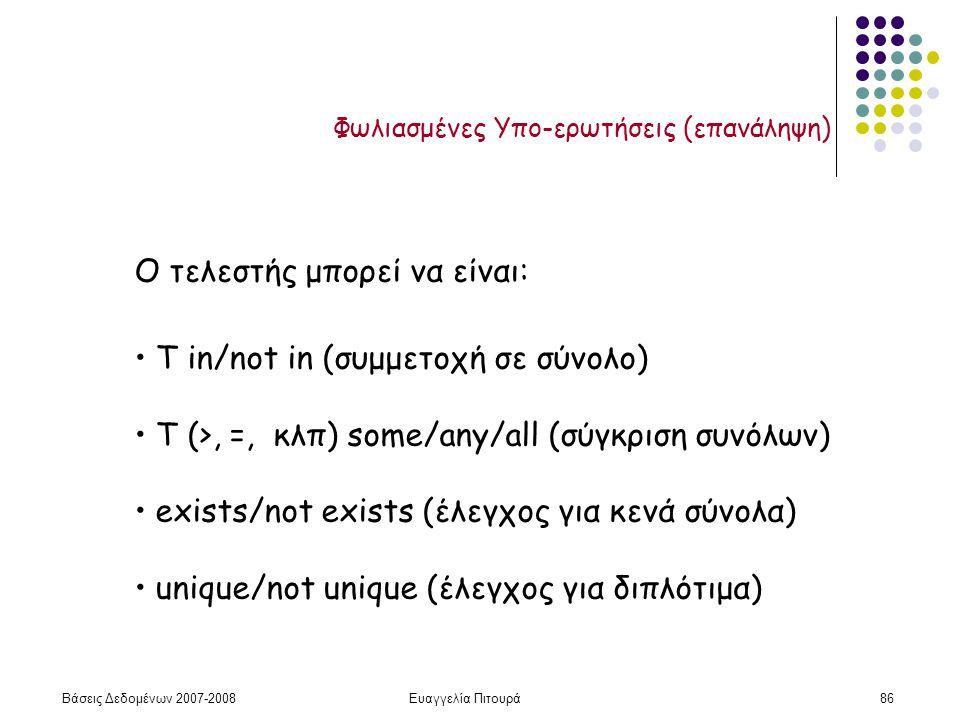 Βάσεις Δεδομένων 2007-2008Ευαγγελία Πιτουρά86 Φωλιασμένες Υπο-ερωτήσεις (επανάληψη) Ο τελεστής μπορεί να είναι: Τ in/not in (συμμετοχή σε σύνολο) Τ (>, =, κλπ) some/any/all (σύγκριση συνόλων) exists/not exists (έλεγχος για κενά σύνολα) unique/not unique (έλεγχος για διπλότιμα)